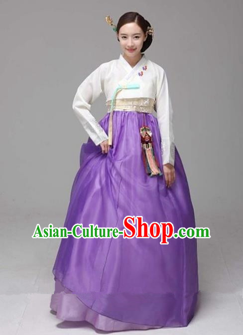 Top Grade Korean Hanbok Traditional White Blouse and Purple Dress Fashion Apparel Costumes for Women