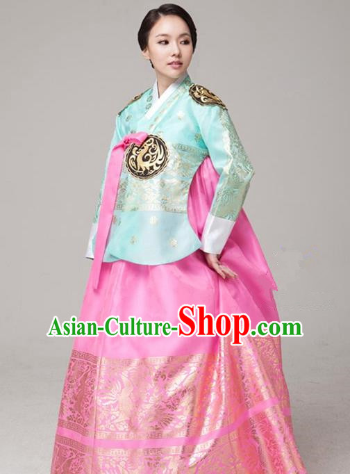 Top Grade Korean Palace Hanbok Traditional Green Blouse and Pink Dress Fashion Apparel Costumes for Women