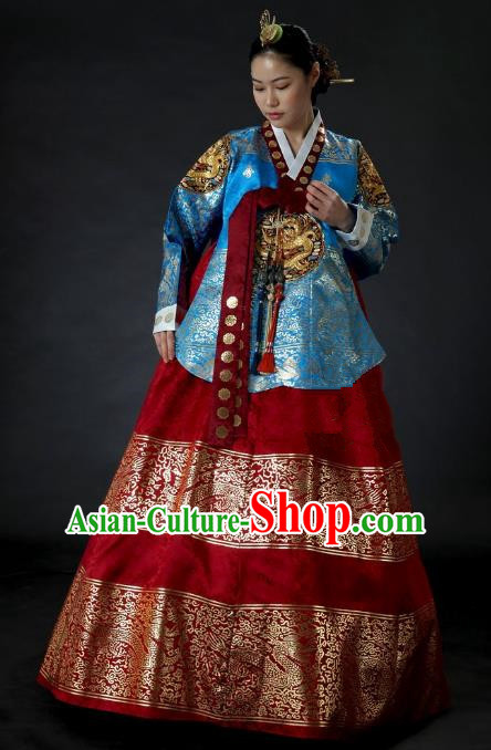 Top Grade Korean Palace Hanbok Traditional Blue Blouse and Red Dress Fashion Apparel Costumes for Women
