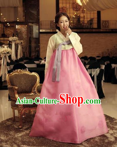 Top Grade Korean Traditional Hanbok Ancient Fashion Apparel Costumes Palace Blouse and Pink Dress for Women