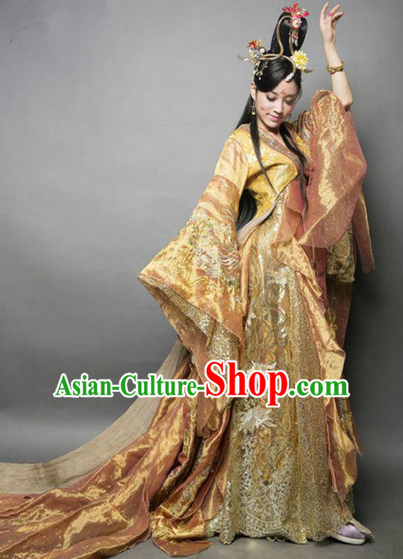 Chinese Ancient Tang Dynasty Imperial Concubine Embroidered Mullet Dress Historical Costume for Women