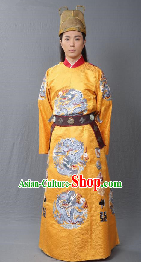 Traditional Chinese Ming Dynasty Replica Costumes Ancient Emperor Zhu Jianshen Imperial Robe for Men