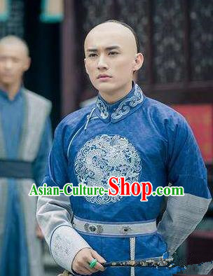 Traditional Chinese Ancient Qing Dynasty Nobility Childe Wu Yingqi Costume for Men
