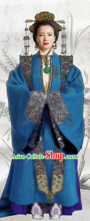 Chinese Ancient Ming Dynasty Palace Empress Dowager Embroidered Dress Costume for Women