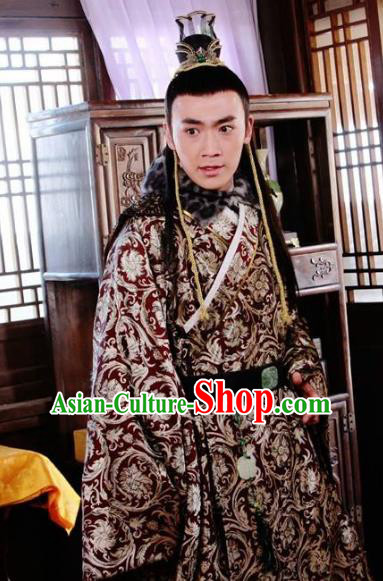 Traditional Chinese Ancient Ming Dynasty Fu Gong Prince Zhu Changxun Costume for Men