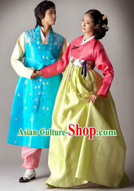 Asian Korean Traditional Wedding Costumes Palace Hanbok Ancient Korean Bride and Bridegroom Costumes Complete Set