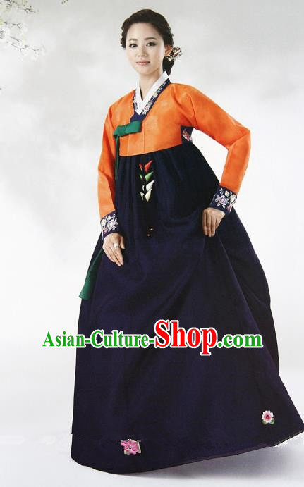 Top Grade Korean Hanbok Ancient Traditional Fashion Apparel Costumes Orange Blouse and Navy Dress for Women