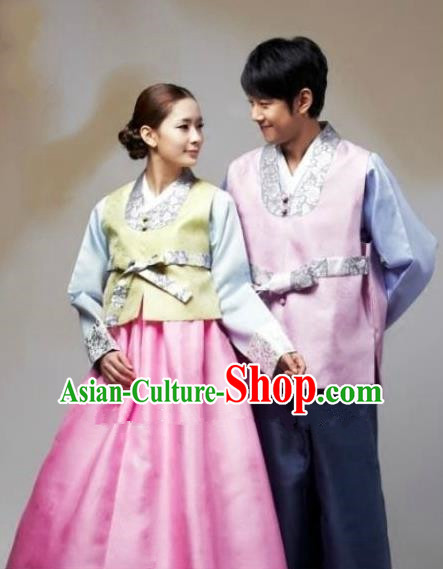 Asian Korean Traditional Wedding Pink Costumes Palace Hanbok Ancient Korean Bride and Bridegroom Costumes Complete Set