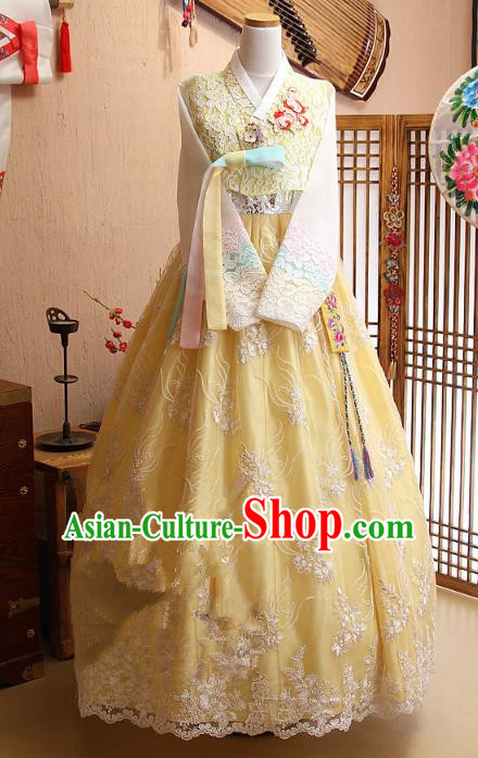Top Grade Korean Hanbok Ancient Traditional Fashion Apparel Costumes Yellow Lace Blouse and Dress for Women