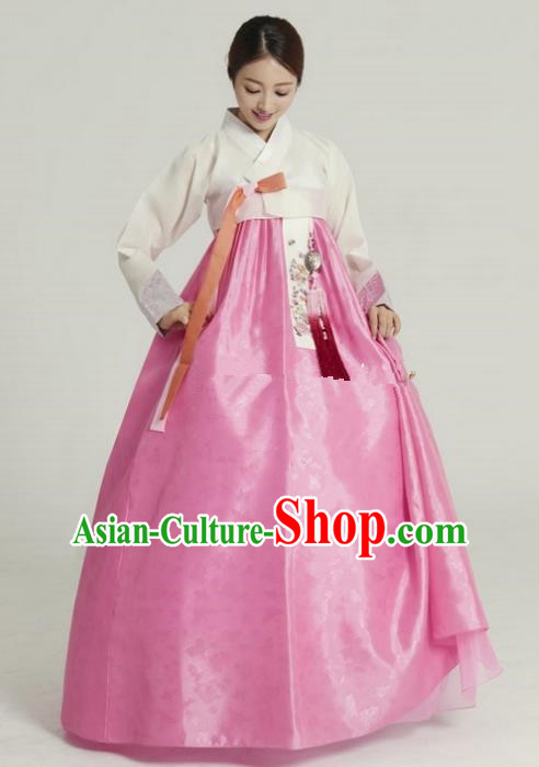 Top Grade Korean Hanbok Ancient Traditional Fashion Apparel Costumes White Blouse and Pink Dress for Women