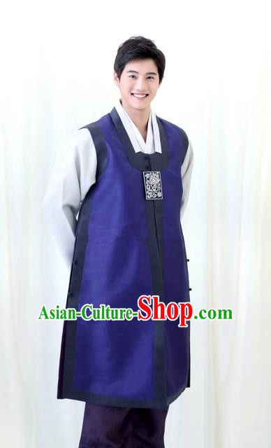 Asian Korean Traditional Royalblue Costumes Ancient Korean Hanbok Bridegroom Wedding Costumes for Men