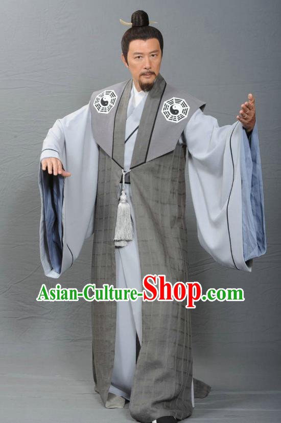 Ancient Chinese Ming Dynasty Swordsman Taoist Costume Priest Frock for Men