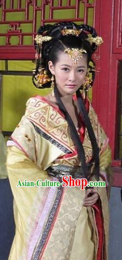 Ancient Chinese Ming Dynasty Imperial Concubine Wei of Zhu Youxiao Embroidered Historical Costume and Headpiece Complete Set for Women