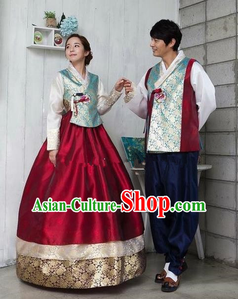 Asian Korean Traditional Costumes Ancient Korean Hanbok Bride and Bridegroom Wedding Costumes Complete Set