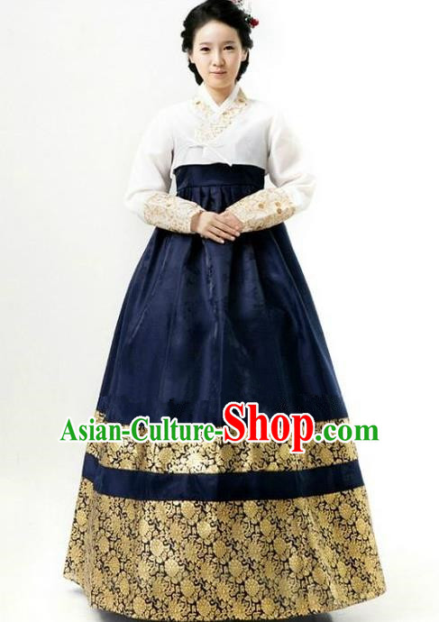 Top Grade Korean Hanbok Ancient Traditional Fashion Apparel Costumes White Blouse and Navy Dress for Women