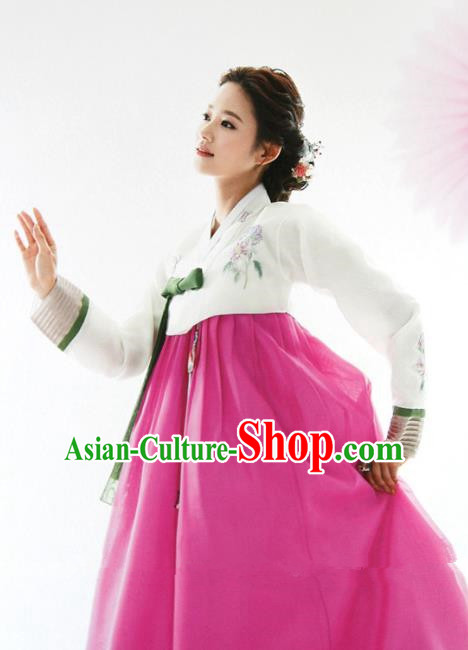 Top Grade Korean Hanbok White Blouse and Rosy Dress Ancient Traditional Fashion Apparel Costumes for Women