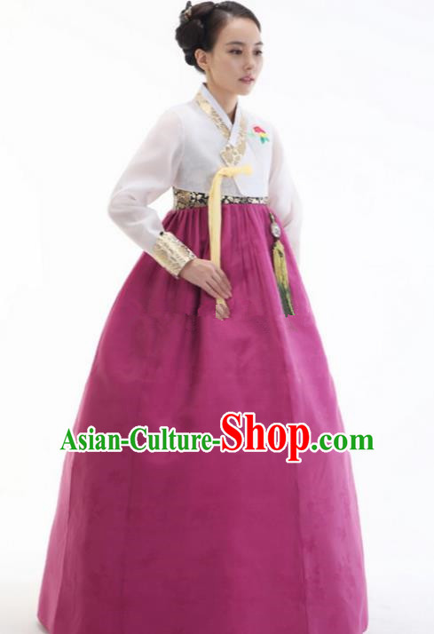 Top Grade Korean Hanbok White Blouse and Purple Dress Ancient Traditional Fashion Apparel Costumes for Women
