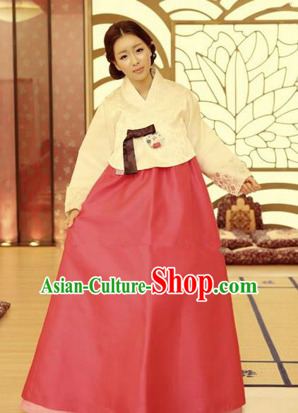 Korean Traditional Hanbok White Blouse and Red Dress Ancient Formal Occasions Fashion Apparel Costumes for Women