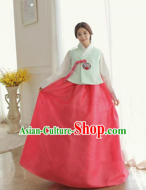 Korean Traditional Hanbok Green Blouse and Red Dress Ancient Formal Occasions Fashion Apparel Costumes for Women