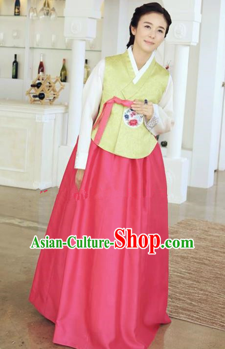 Korean Traditional Hanbok Green Blouse and Rosy Dress Ancient Formal Occasions Fashion Apparel Costumes for Women