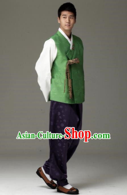 Traditional Korean Costumes Ancient Korean Male Hanbok Bridegroom Costume Green Vest and Purple Pants for Men