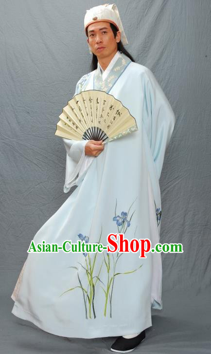 Traditional Chinese Ancient Ming Dynasty Gifted Scholar Artist Tang Bohu Costume for Men