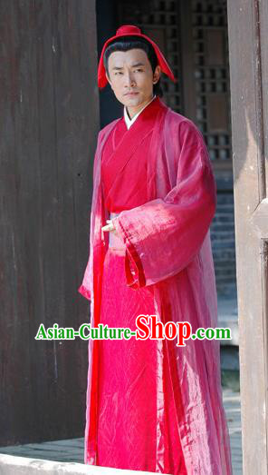 Chinese Ancient Song Dynasty Litterateur Collector Zhao Mingcheng Replica Costume for Men