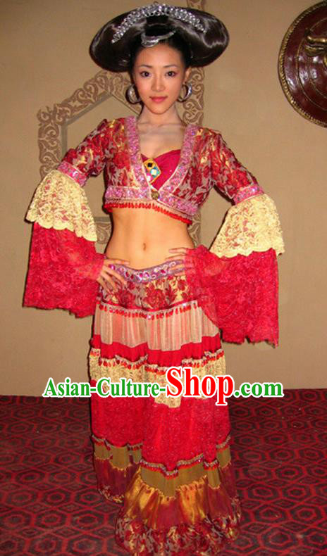 Ancient Chinese Ming Dynasty Palace Lady Dance Replica Costume and Headpiece Complete Set for Women
