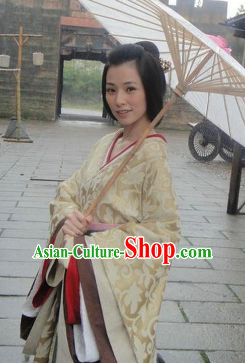Ancient Chinese Han Dynasty Palace Lady Hanfu Young Mistress Replica Costume for Women