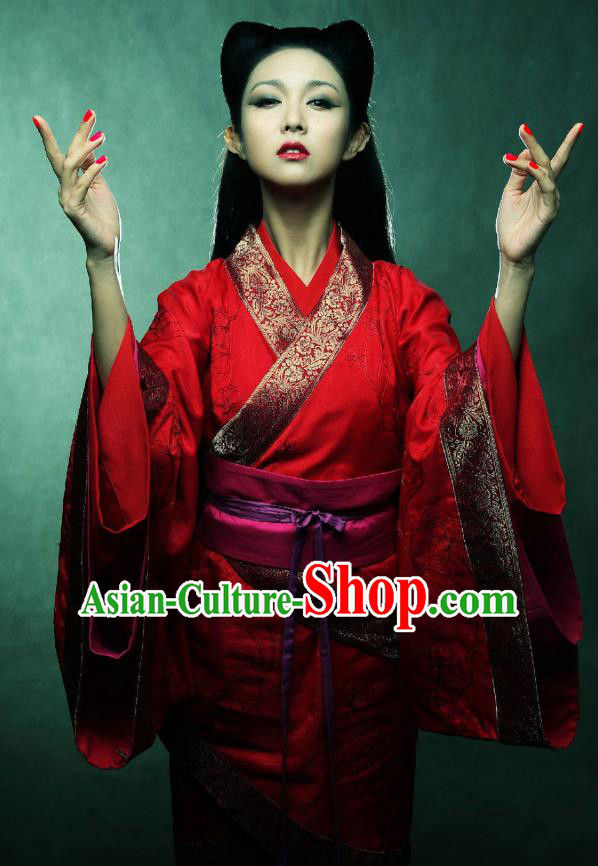 Ancient Chinese Han Dynasty Palace Lady Fairy Replica Costume for Women