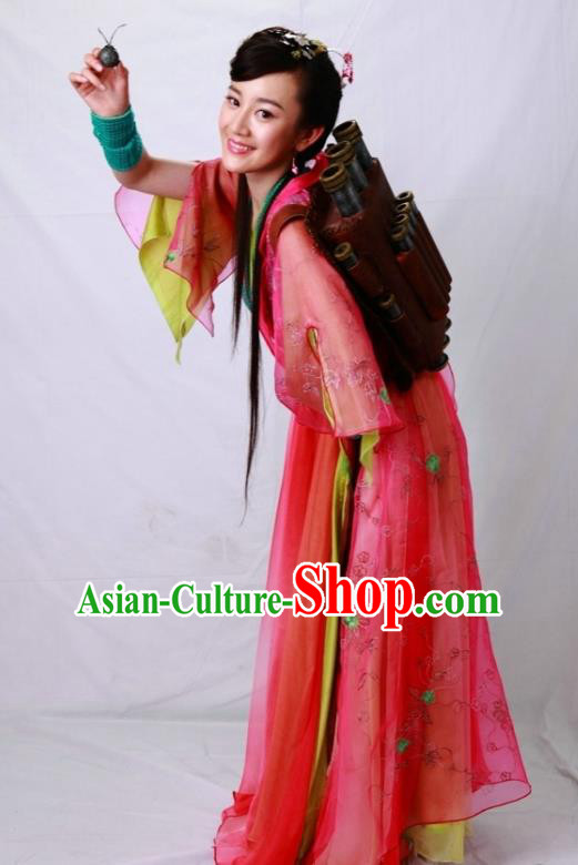Ancient Chinese Song Dynasty Swordswoman Red Dress Chivalrous Woman Embroidered Replica Costume