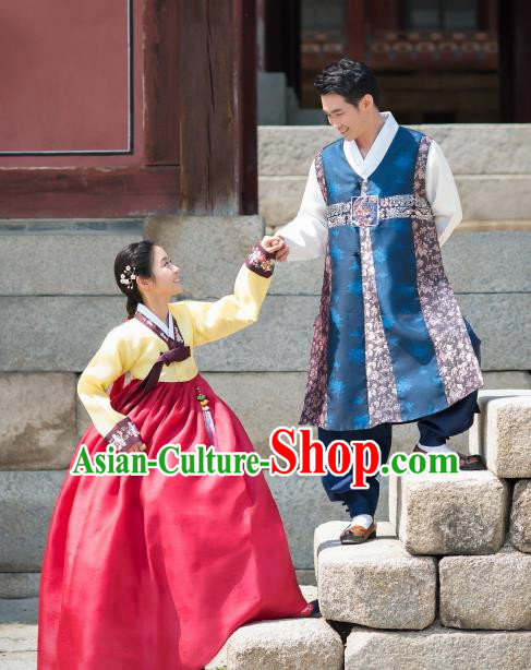 Traditional Korean Costumes Ancient Korean Bride and Bridegroom Hanbok Clothing Complete Set