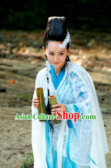 Ancient Chinese Song Dynasty Swordswoman Blue Hanfu Dress Chivalrous Woman Replica Costume