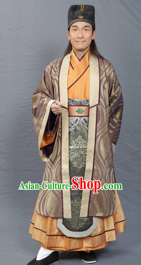 Chinese Song Dynasty Scholar Clothing Ancient Litterateur Replica Costume for Men