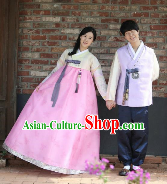 Traditional Korean Palace Costumes Ancient Korean Bride and Bridegroom Hanbok Complete Set