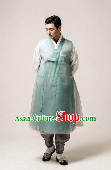 Traditional Korean Costumes Ancient Palace Korean Bridegroom Hanbok Green Vest and Grey Pants for Men