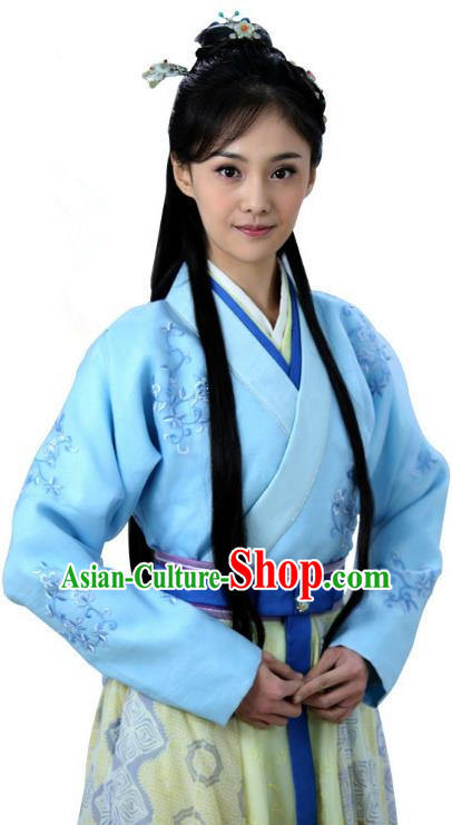 Ancient Chinese Song Dynasty Cook Maids Embroidered Replica Costume for Women