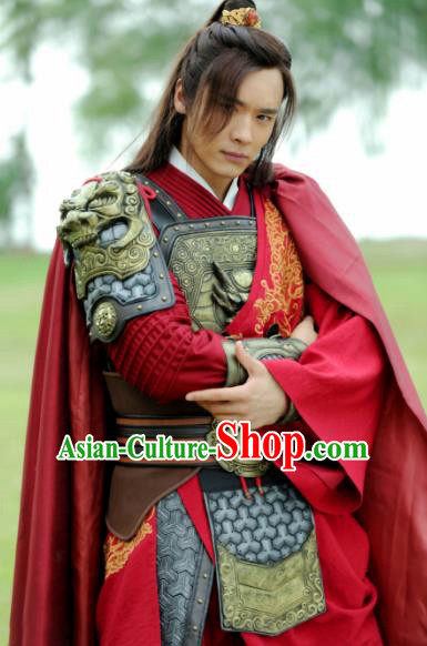 Ancient Chinese Song Dynasty General Swordsman Son of Yueh Fei Replica Costume Helmet and Armour for Men