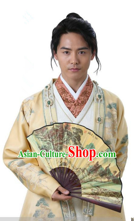 Ancient Chinese Song Dynasty Nobility Childe Swordsman Replica Costume for Men
