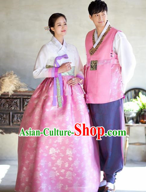 Korean Traditional Wedding Costumes Ancient Korean Palace Bride and Bridegroom Hanbok Complete Set
