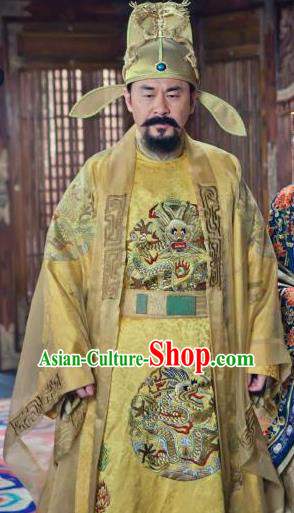 Chinese Song Dynasty Emperor Zhao Kuangyin Clothing Ancient Imperator Replica Costume for Men