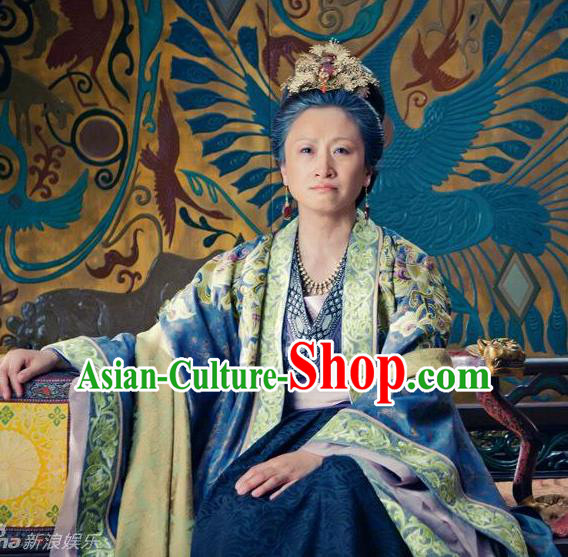 Chinese Song Dynasty Empress Dowager Du Embroidered Dress Ancient Palace Lady Replica Costume for Women