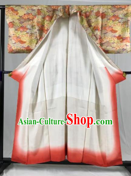 Japan Ancient Geisha Formal Costume Printing Furisode Kimonos Traditional Palace Yukata Dress for Women