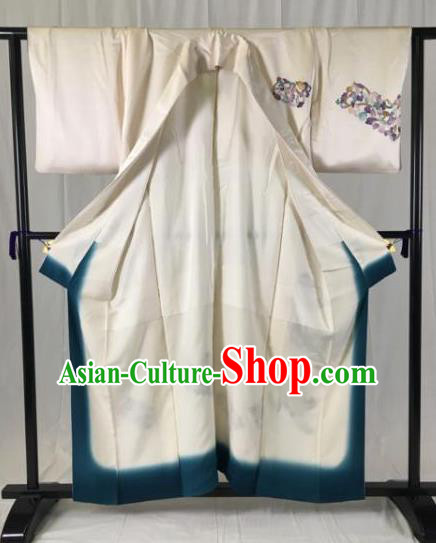 Japan Ancient Geisha Formal Costume White Furisode Kimonos Traditional Palace Yukata Dress for Women