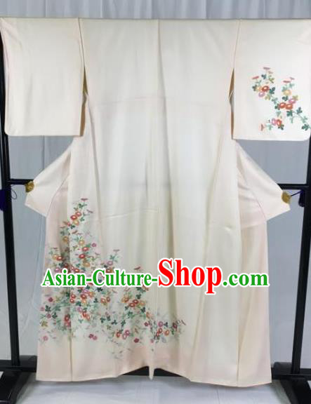 Japan Ancient Geisha Formal Costume Printing Flowers Furisode Kimonos Traditional Palace Yukata Dress for Women