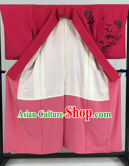 Japan Traditional Formal Costume Ink Painting Furisode Kimonos Ancient Palace Yukata Dress for Women
