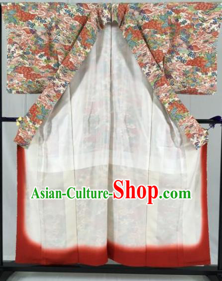 Japan Traditional Printing Kimono Formal Costume Geisha Furisode Kimonos Ancient Yukata Dress for Women