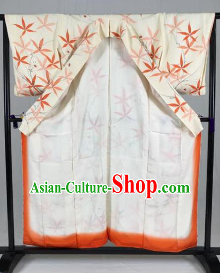 Japan Traditional White Kimono Formal Costume Geisha Furisode Kimonos Ancient Yukata Dress for Women