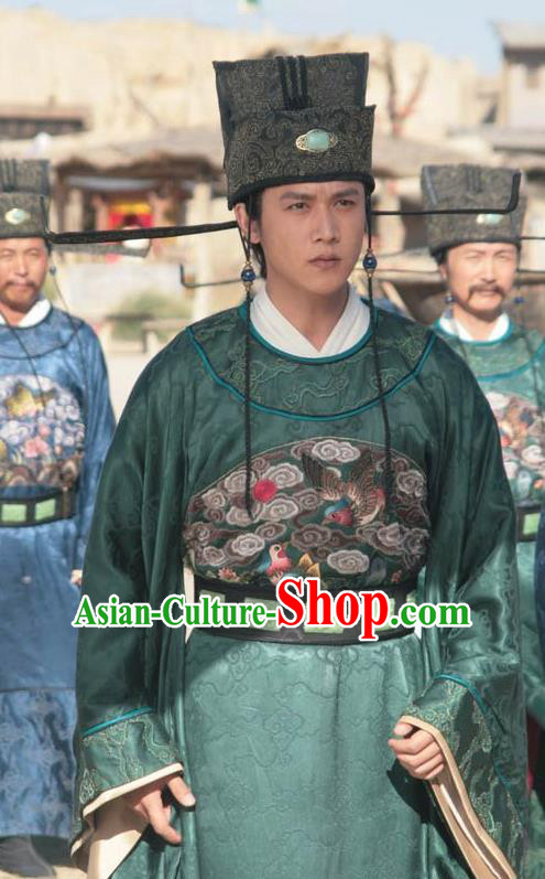 Chinese Song Dynasty Poet Su Shi Gwanbok Litterateur Su Tungpo Embroidered Replica Costume for Men