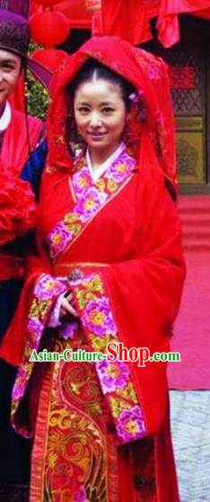 Chinese Ancient Song Dynasty Wife of Litterateur Su Shi Wang Fu Wedding Replica Costume for Women